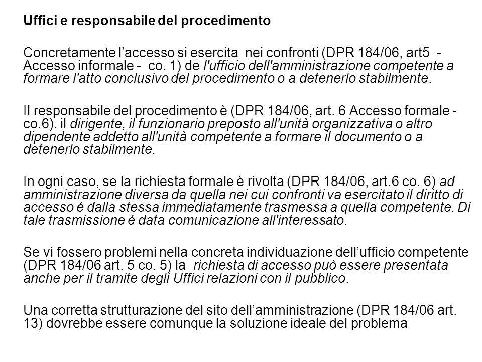 Uffici e responsabile del procedimento