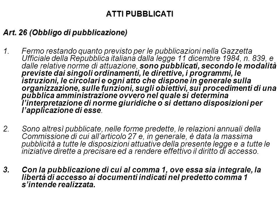ATTI PUBBLICATI Art. 26 (Obbligo di pubblicazione)