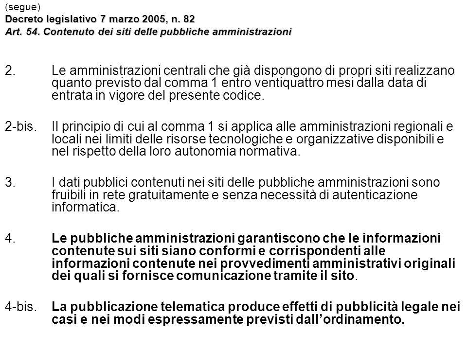 (segue) Decreto legislativo 7 marzo 2005, n. 82. Art. 54. Contenuto dei siti delle pubbliche amministrazioni.