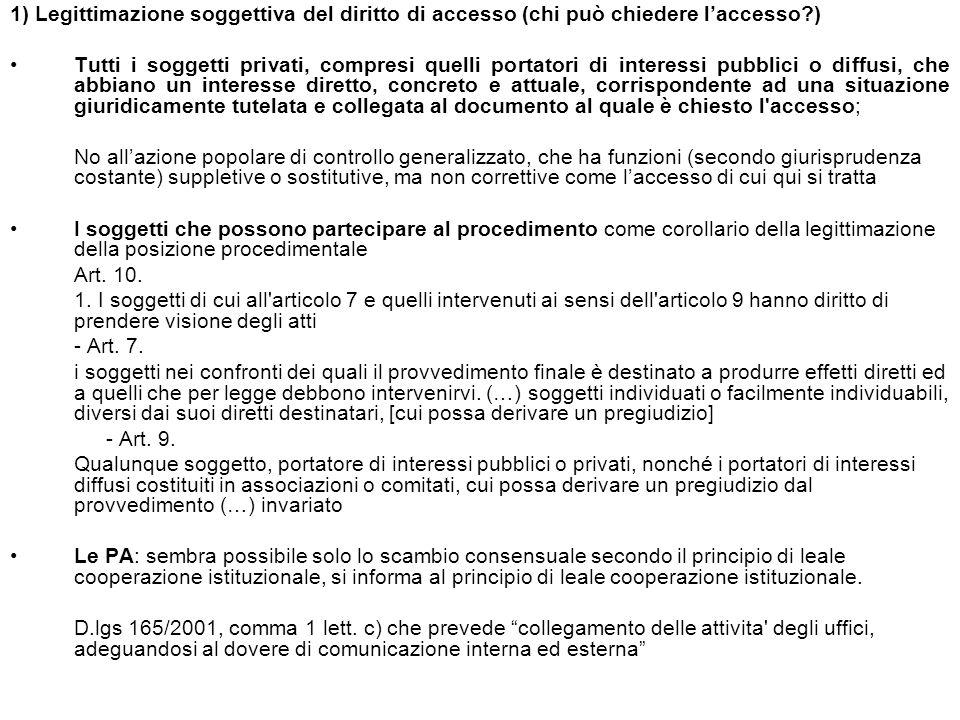1) Legittimazione soggettiva del diritto di accesso (chi può chiedere l'accesso )