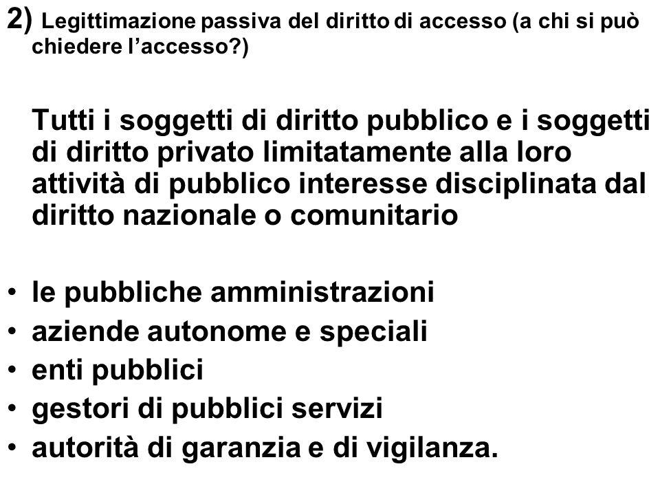 2) Legittimazione passiva del diritto di accesso (a chi si può chiedere l'accesso )