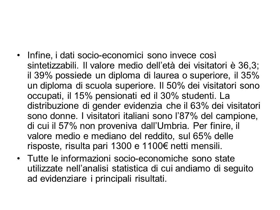 Infine, i dati socio-economici sono invece così sintetizzabili
