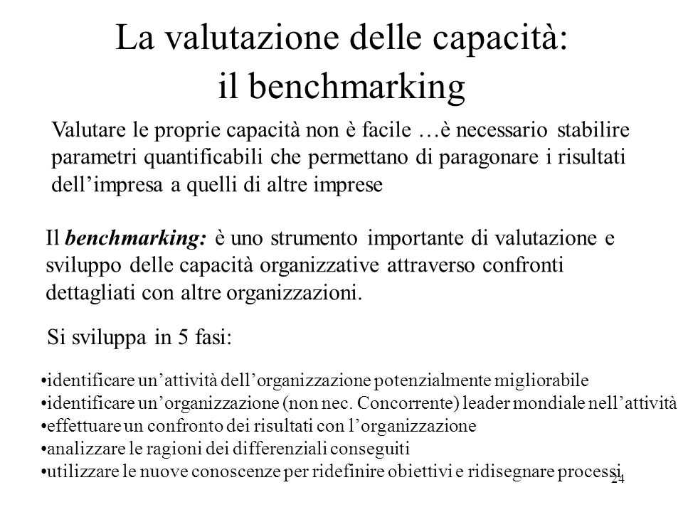 La valutazione delle capacità: il benchmarking