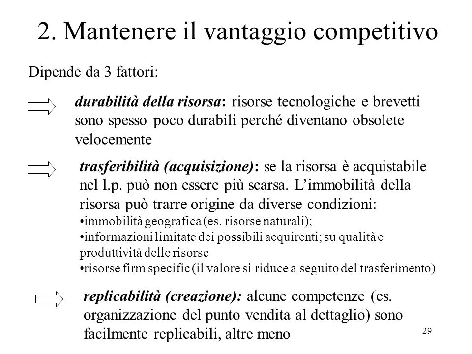 2. Mantenere il vantaggio competitivo