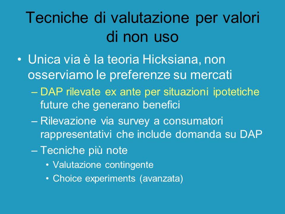 Tecniche di valutazione per valori di non uso