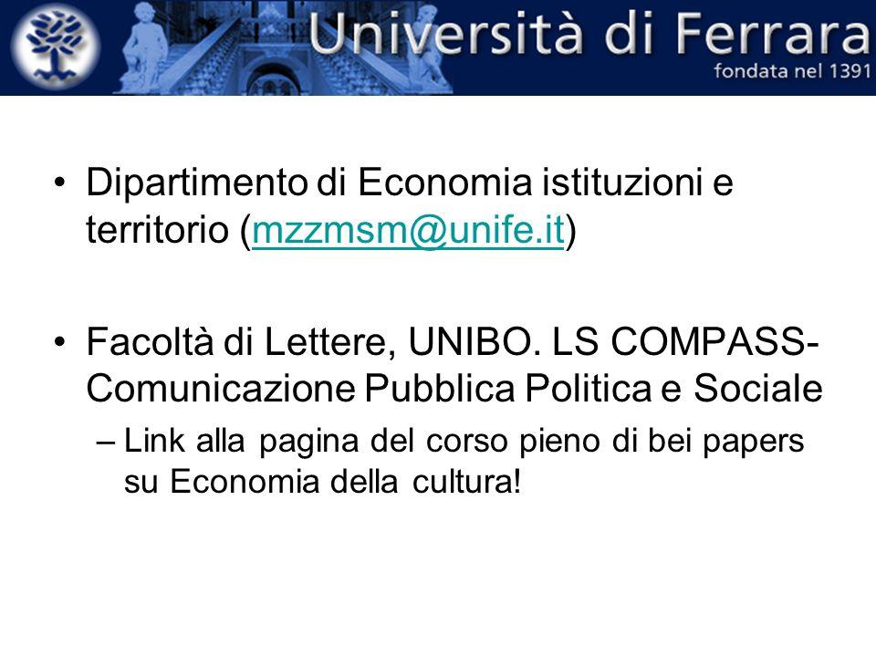 Dipartimento di Economia istituzioni e territorio (mzzmsm@unife.it)