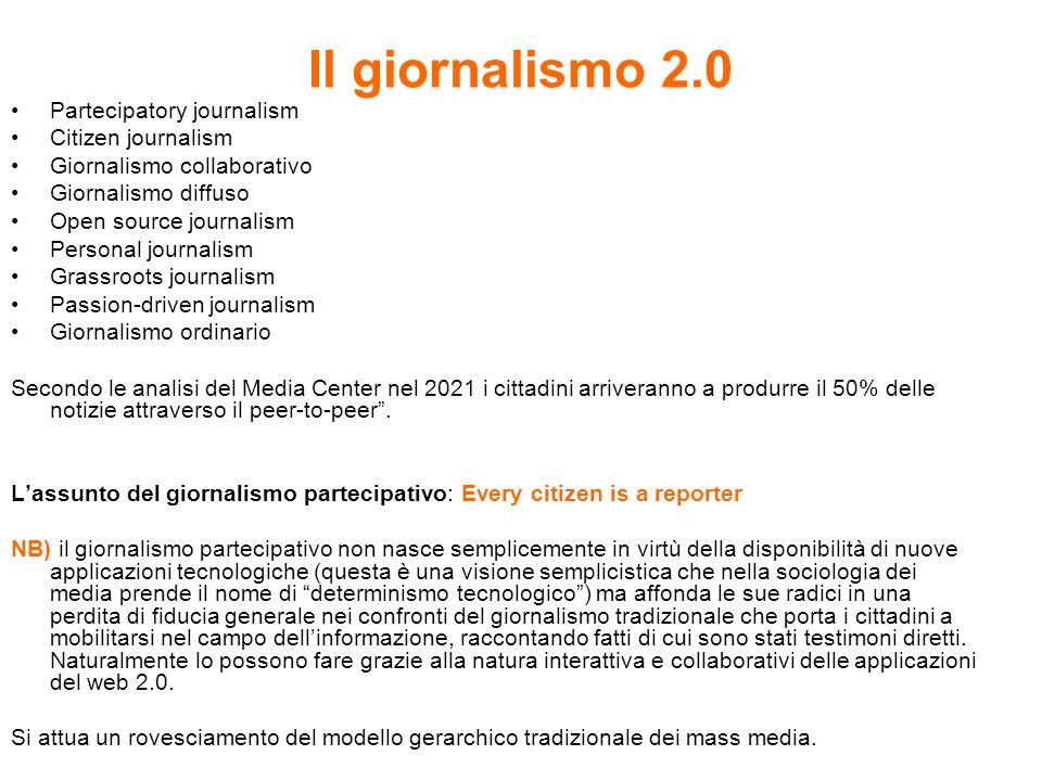 Il giornalismo 2.0 Partecipatory journalism Citizen journalism