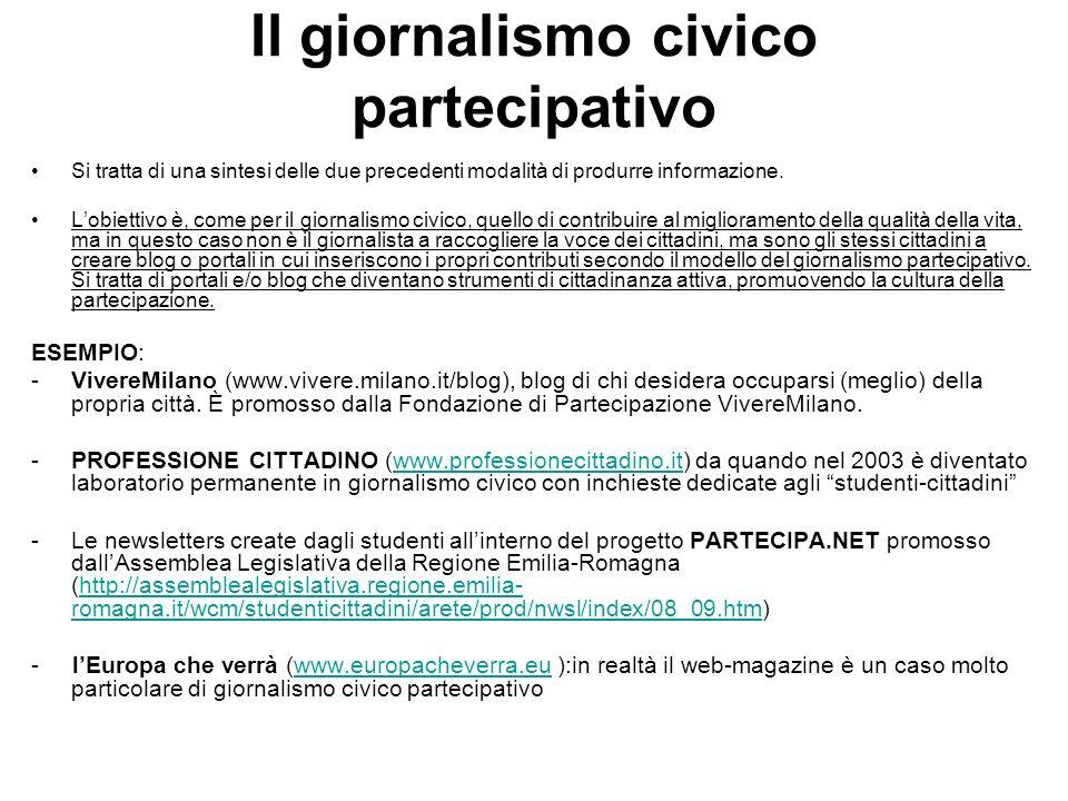 Il giornalismo civico partecipativo