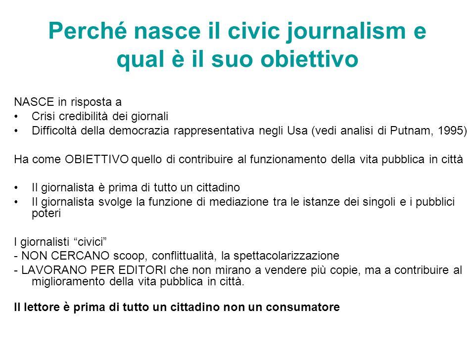 Perché nasce il civic journalism e qual è il suo obiettivo