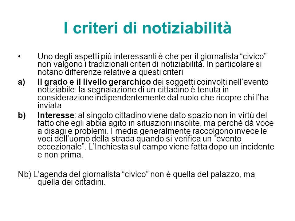 I criteri di notiziabilità
