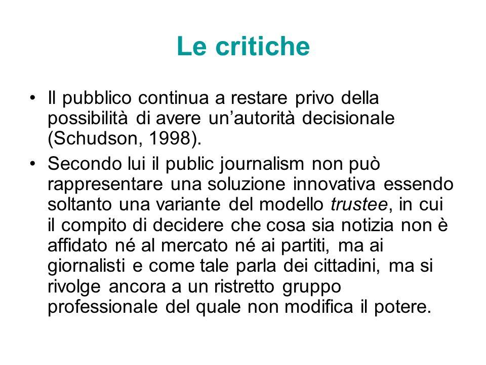 Le critiche Il pubblico continua a restare privo della possibilità di avere un'autorità decisionale (Schudson, 1998).
