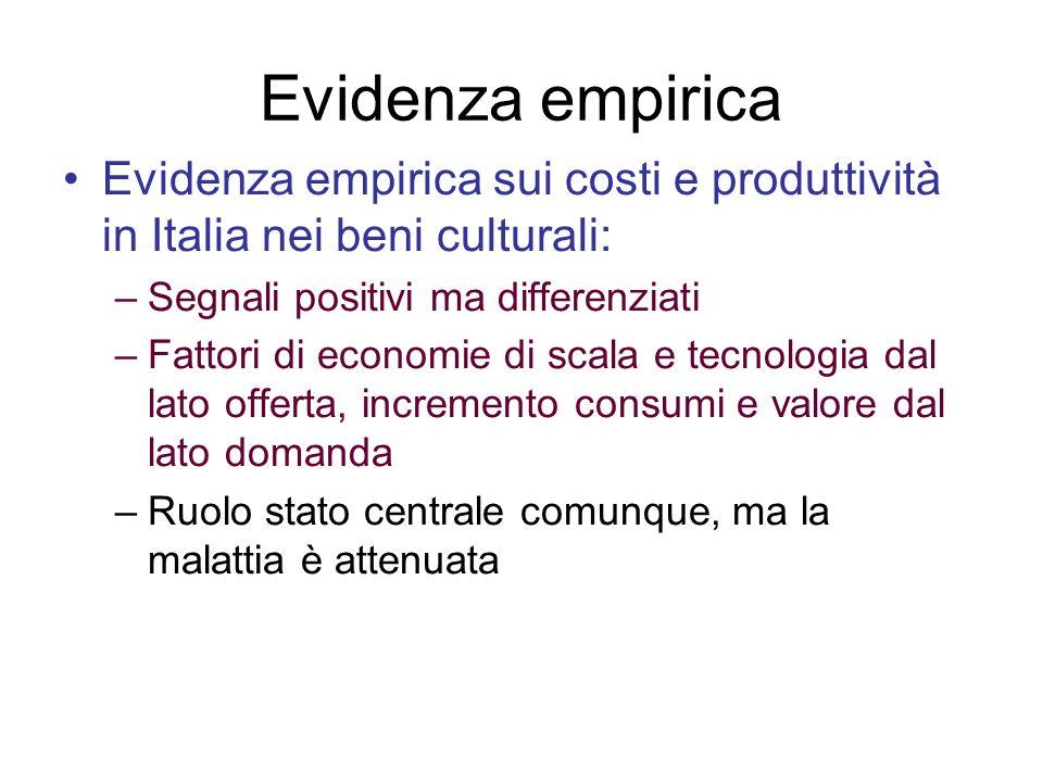 Evidenza empirica Evidenza empirica sui costi e produttività in Italia nei beni culturali: Segnali positivi ma differenziati.