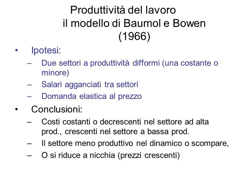 Produttività del lavoro il modello di Baumol e Bowen (1966)