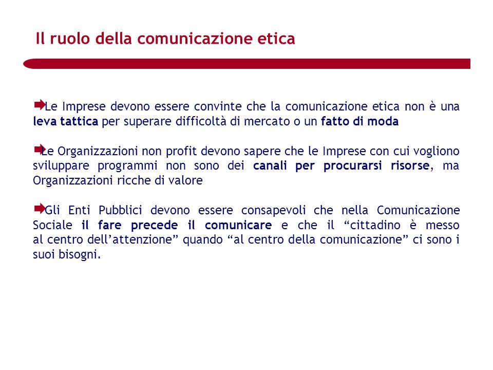 Il ruolo della comunicazione etica
