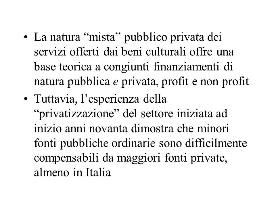 La natura mista pubblico privata dei servizi offerti dai beni culturali offre una base teorica a congiunti finanziamenti di natura pubblica e privata, profit e non profit