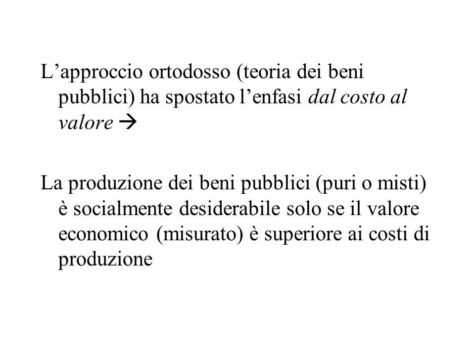 L'approccio ortodosso (teoria dei beni pubblici) ha spostato l'enfasi dal costo al valore 