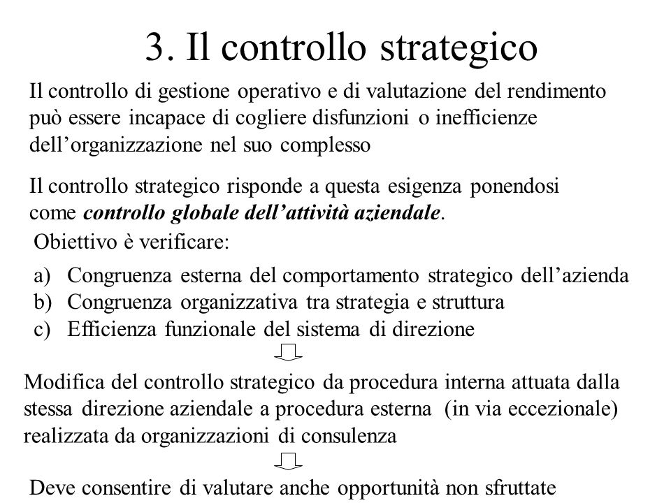 3. Il controllo strategico