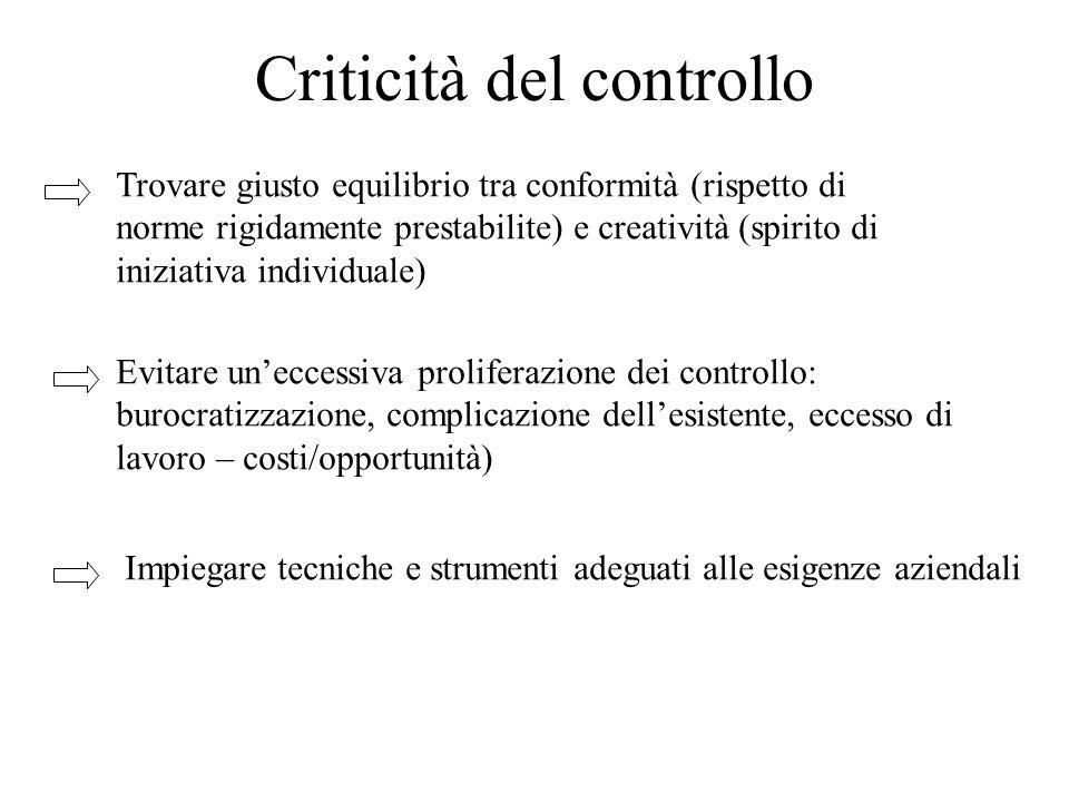 Criticità del controllo