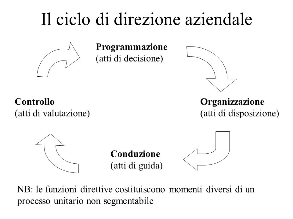 Il ciclo di direzione aziendale