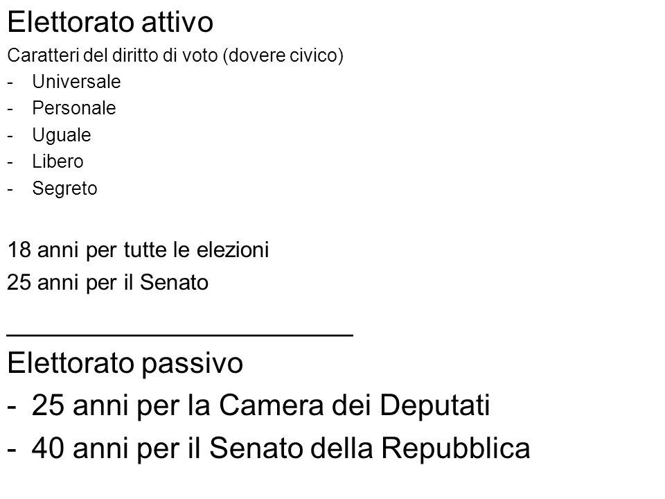 _____________________ Elettorato passivo