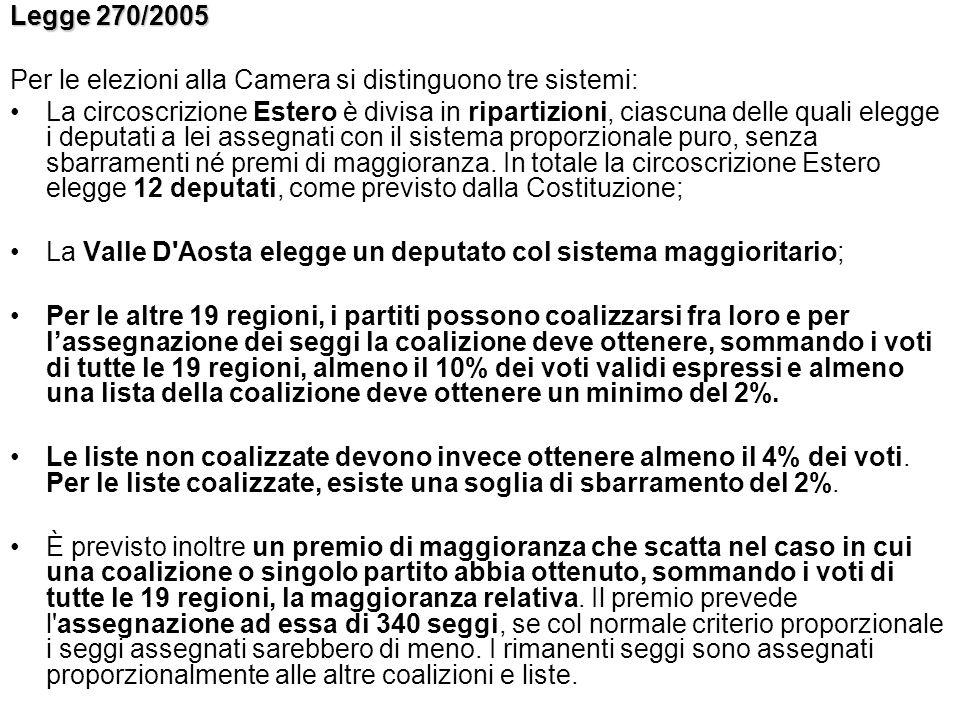 Legge 270/2005 Per le elezioni alla Camera si distinguono tre sistemi: