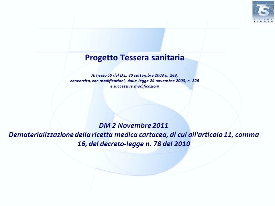 Progetto Tessera sanitaria Articolo 50 del D. L. 30 settembre 2003 n
