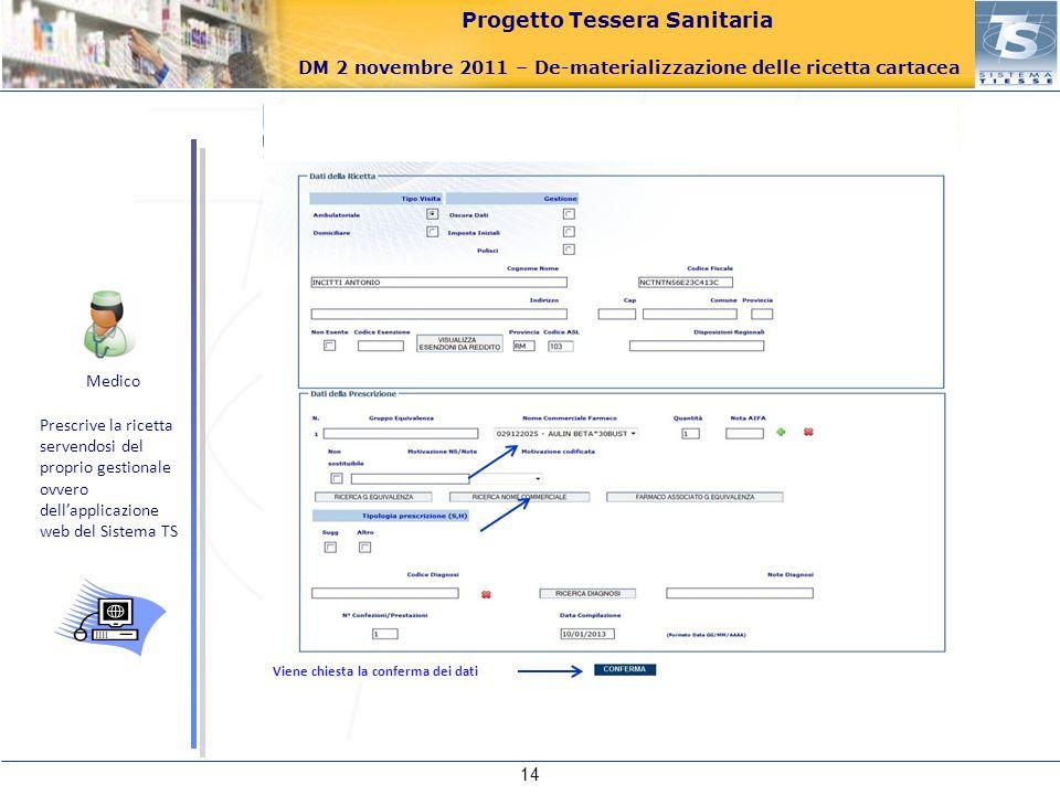 MedicoPrescrive la ricetta servendosi del proprio gestionale ovvero dell'applicazione web del Sistema TS.