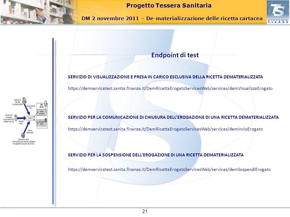 Endpoint di testSERVIZIO DI VISUALIZZAZIONE E PRESA IN CARICO ESCLUSIVA DELLA RICETTA DEMATERIALIZZATA.