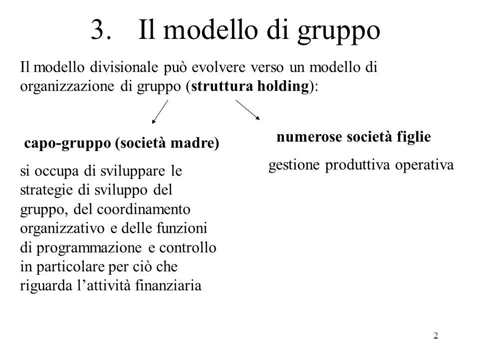 3. Il modello di gruppoIl modello divisionale può evolvere verso un modello di organizzazione di gruppo (struttura holding):