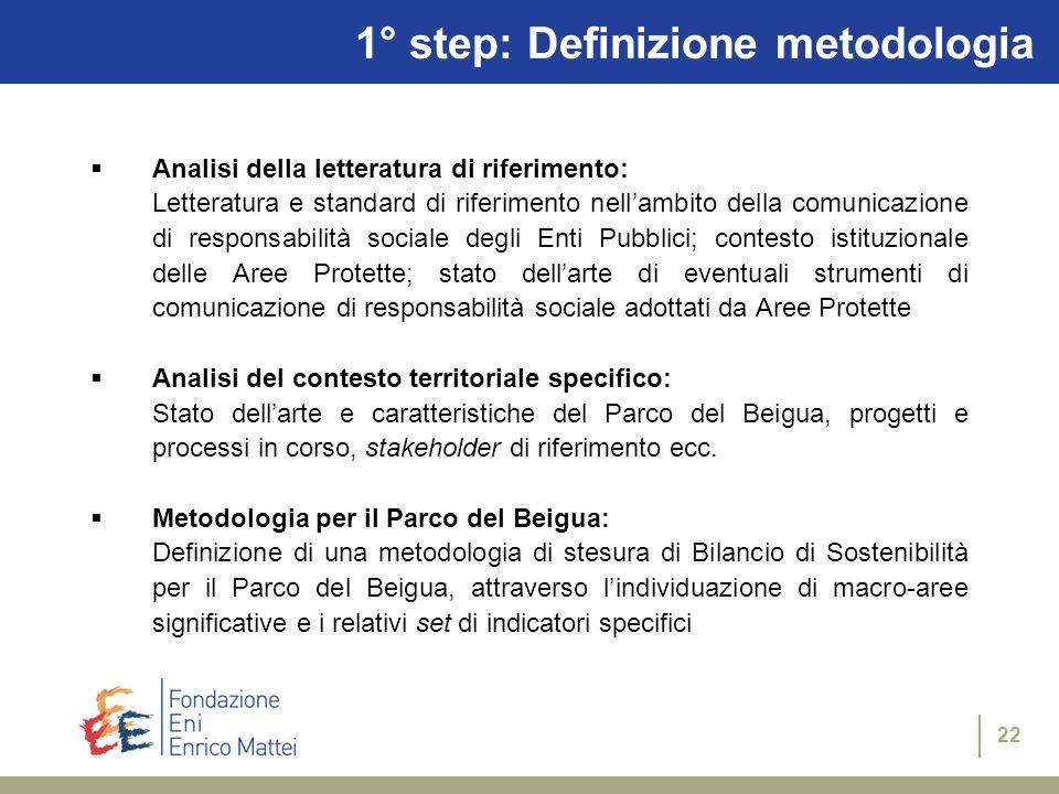 1° step: Definizione metodologia