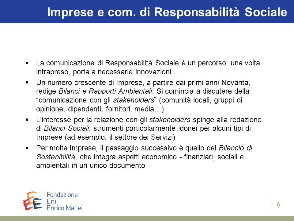 Imprese e com. di Responsabilità Sociale