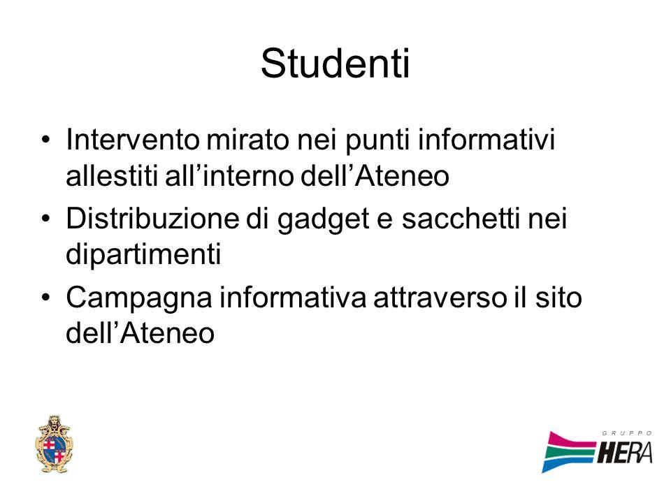 StudentiIntervento mirato nei punti informativi allestiti all'interno dell'Ateneo. Distribuzione di gadget e sacchetti nei dipartimenti.