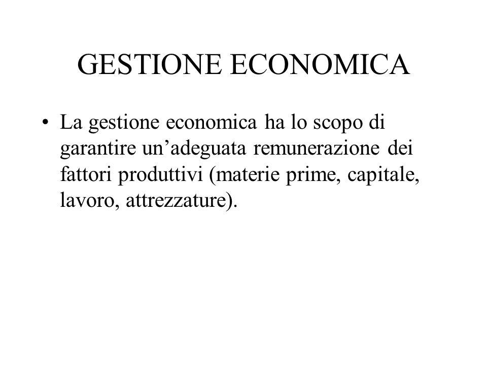 GESTIONE ECONOMICA