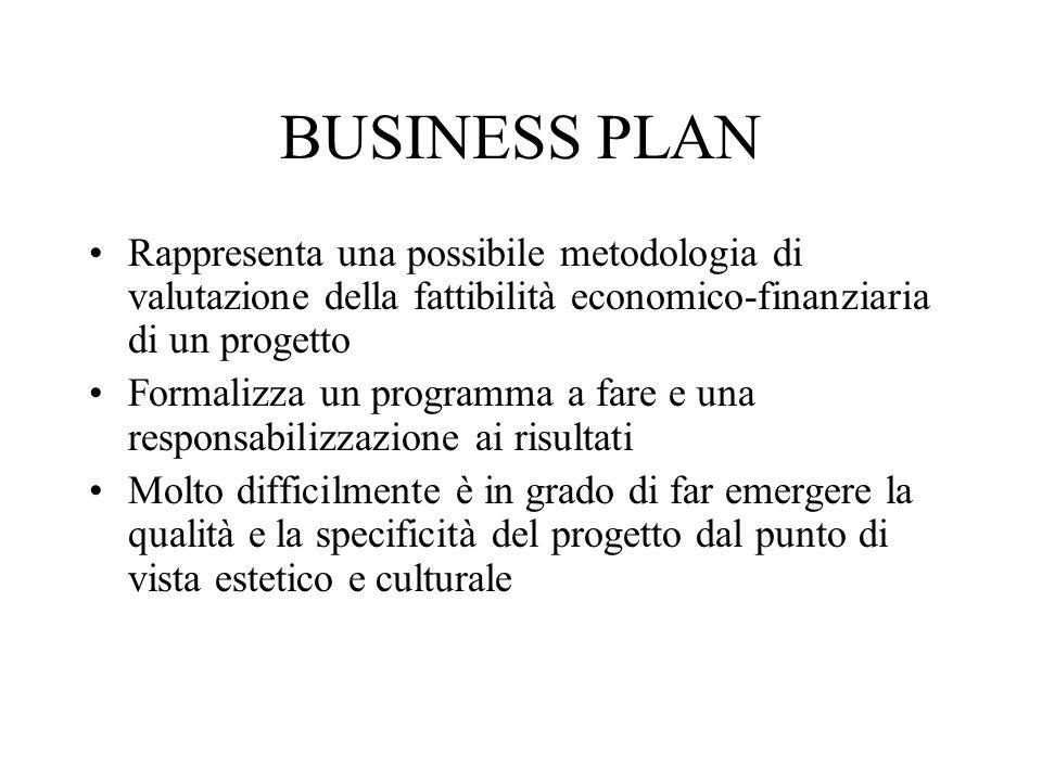 BUSINESS PLAN Rappresenta una possibile metodologia di valutazione della fattibilità economico-finanziaria di un progetto.