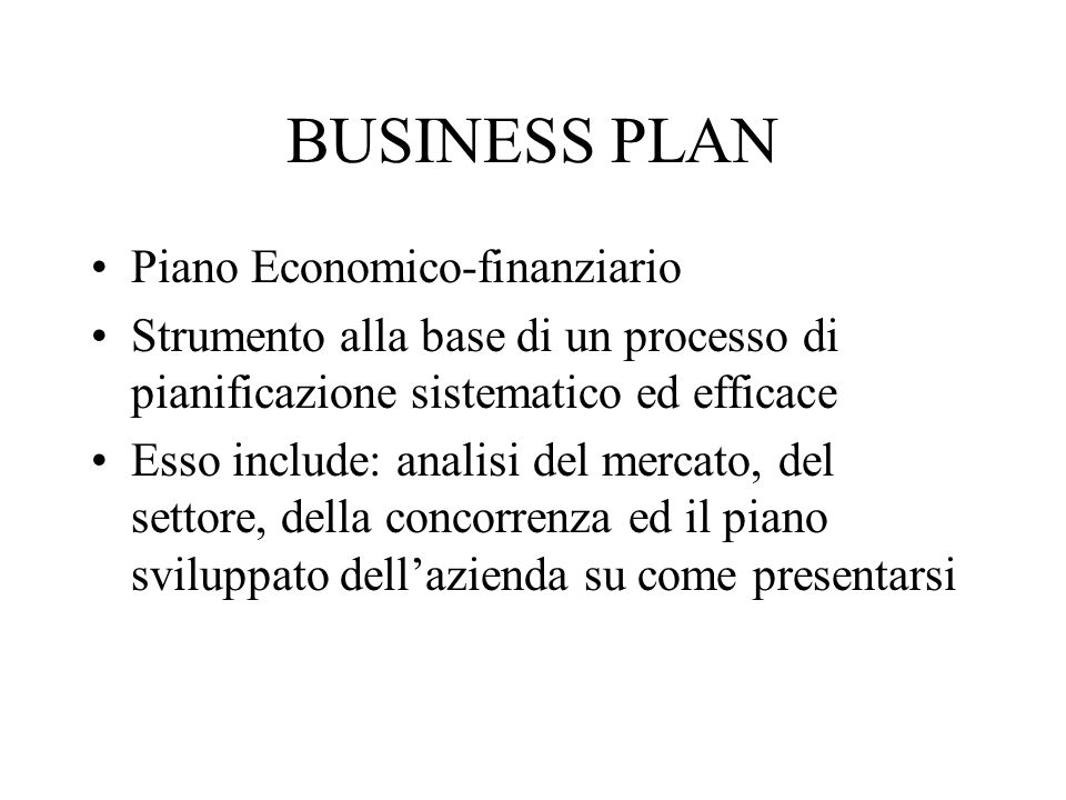 BUSINESS PLAN Piano Economico-finanziario