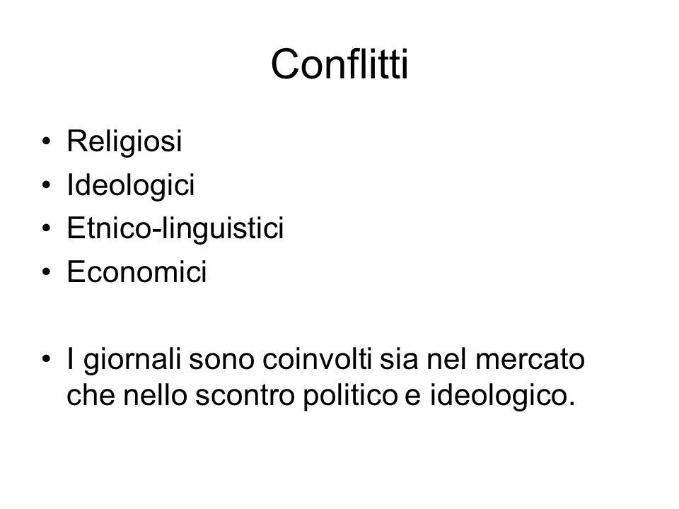 Conflitti Religiosi Ideologici Etnico-linguistici Economici