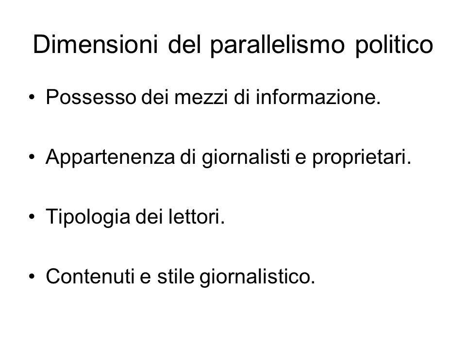 Dimensioni del parallelismo politico