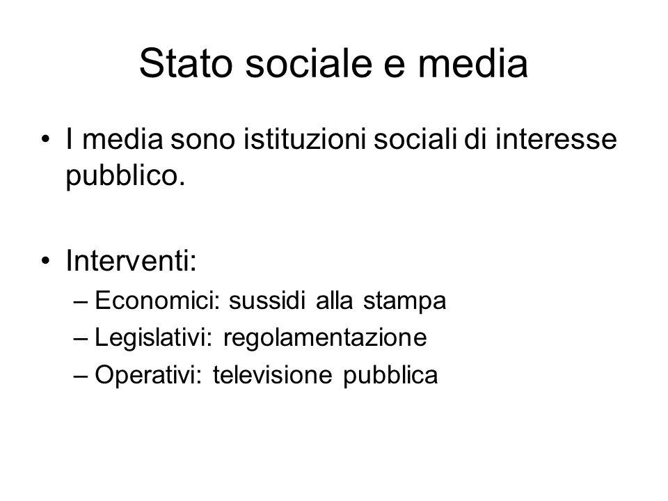 Stato sociale e media I media sono istituzioni sociali di interesse pubblico. Interventi: Economici: sussidi alla stampa.