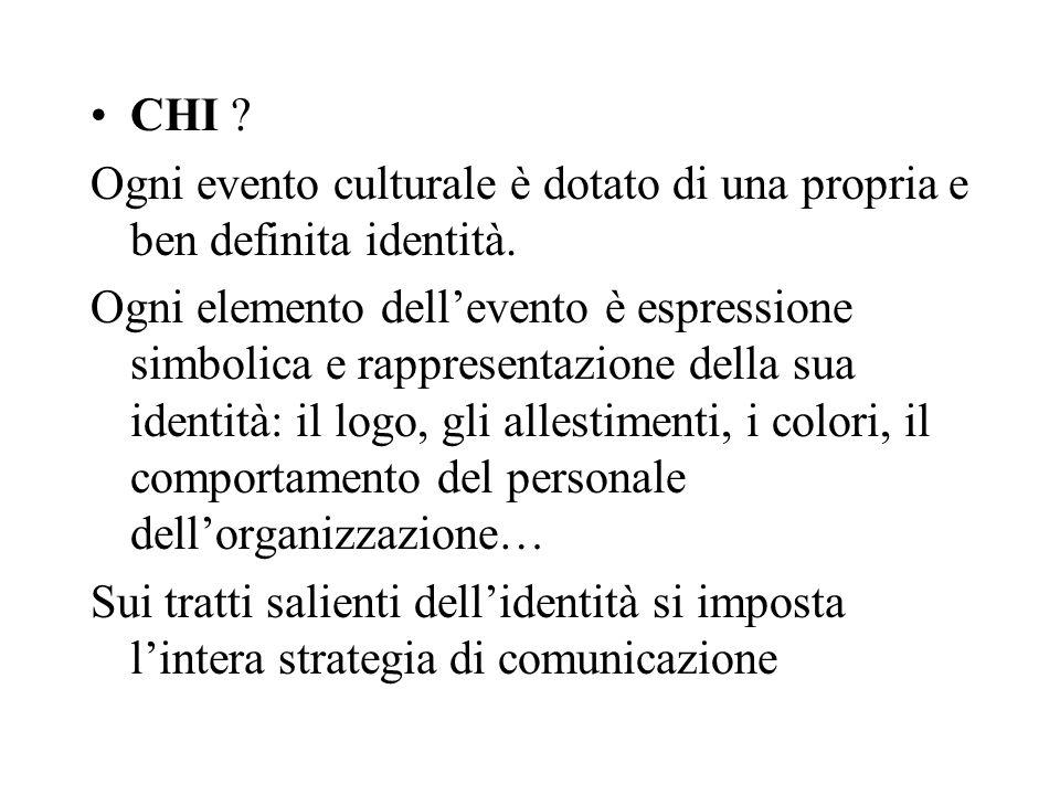 CHI Ogni evento culturale è dotato di una propria e ben definita identità.