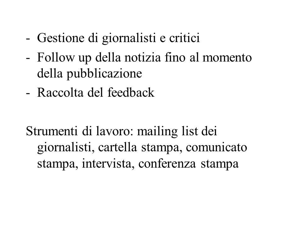 Gestione di giornalisti e critici