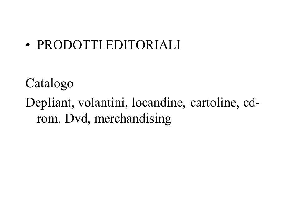 PRODOTTI EDITORIALI Catalogo Depliant, volantini, locandine, cartoline, cd-rom. Dvd, merchandising