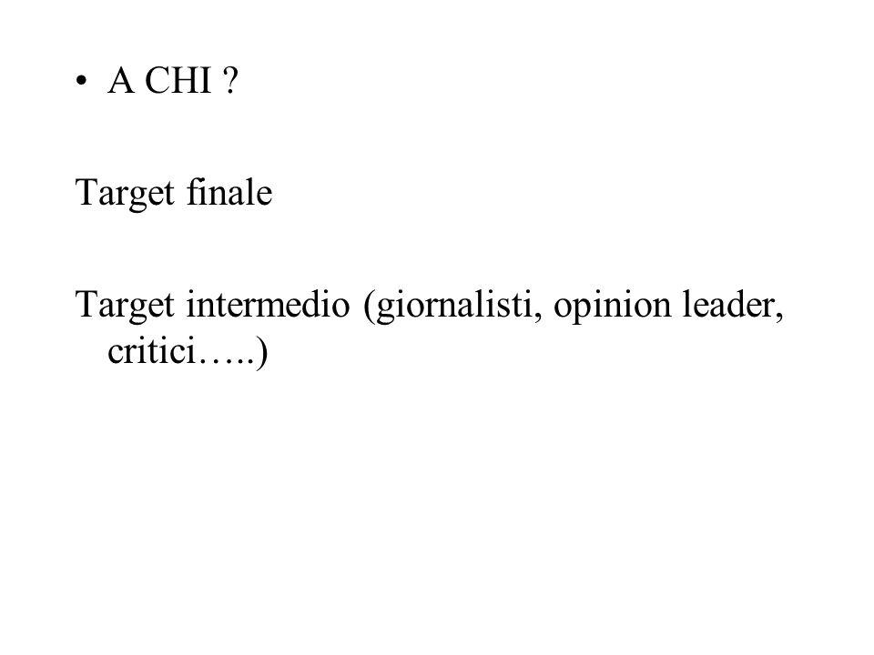 A CHI Target finale Target intermedio (giornalisti, opinion leader, critici…..)