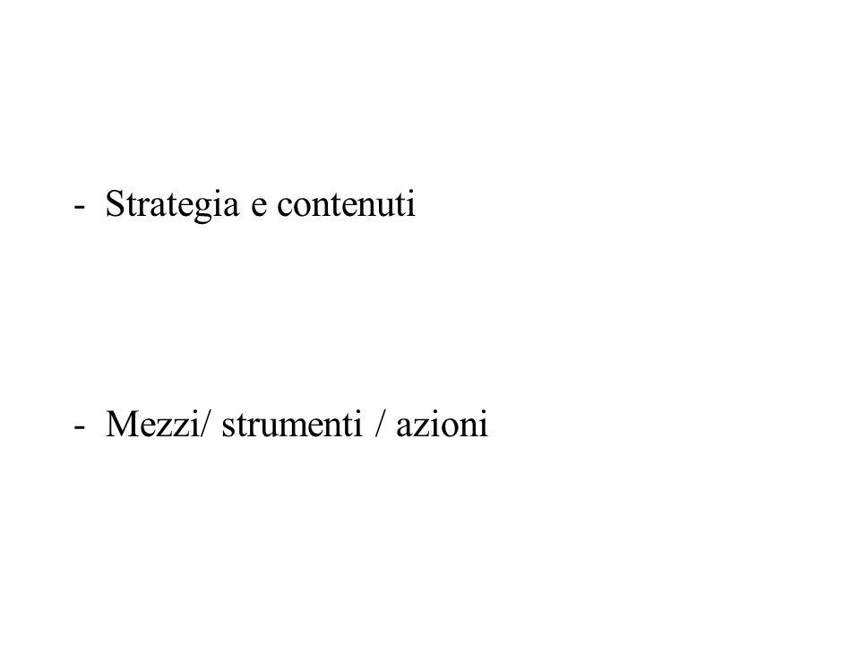 - Strategia e contenuti