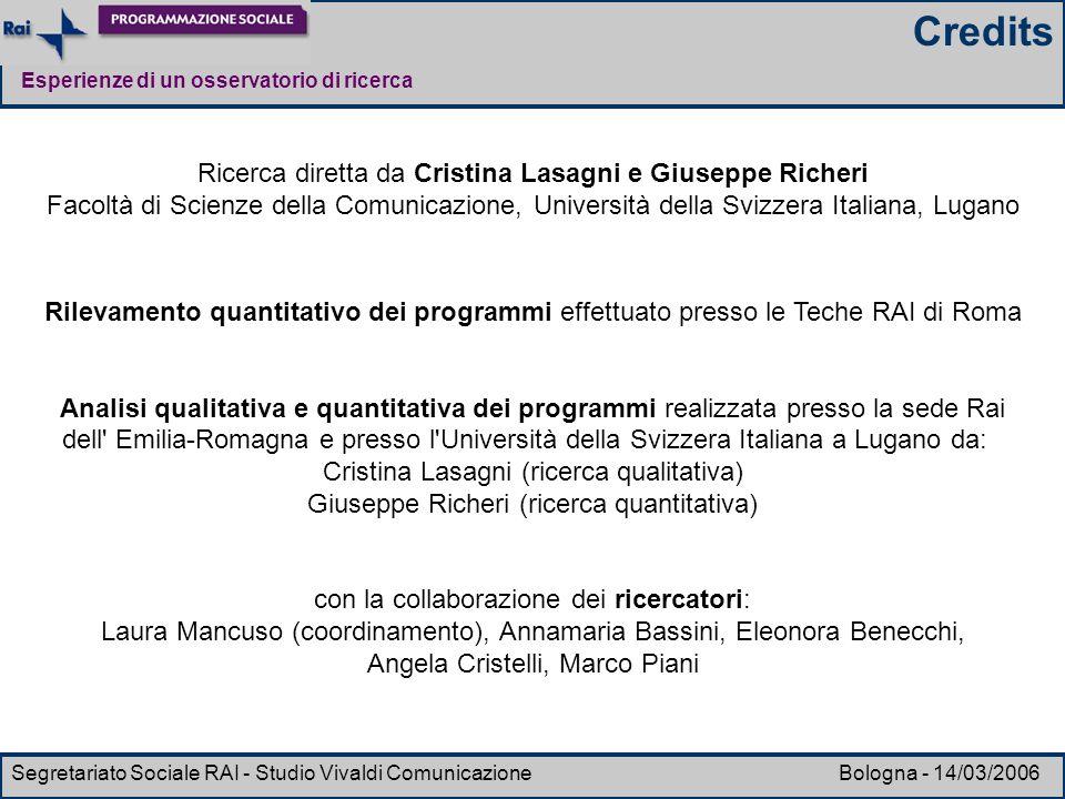 Credits Ricerca diretta da Cristina Lasagni e Giuseppe Richeri
