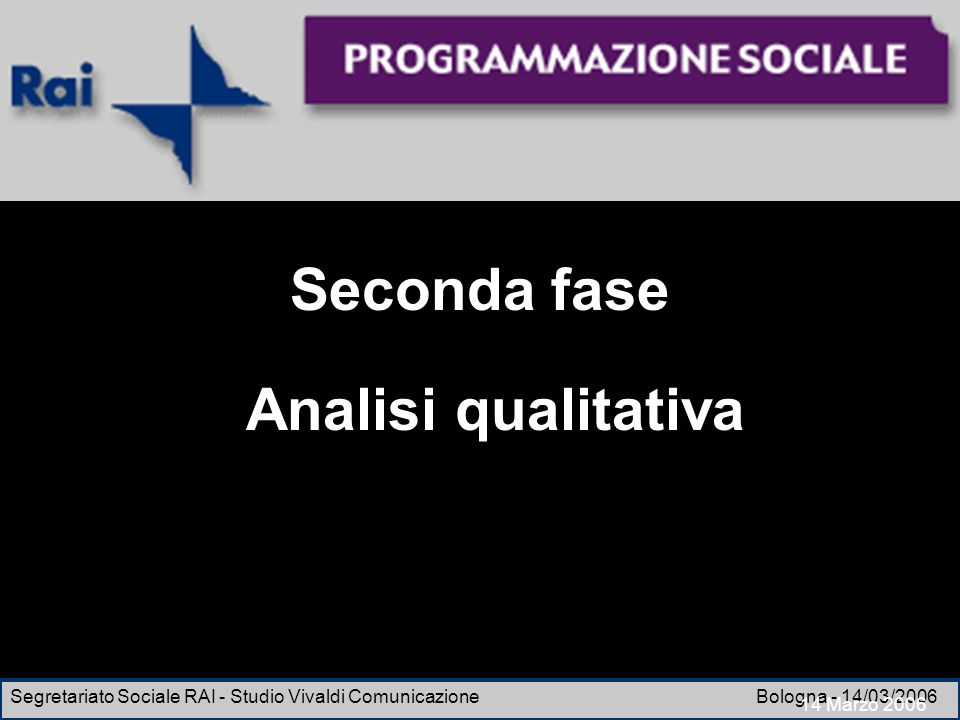 Seconda fase Analisi qualitativa