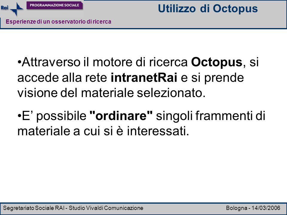 Utilizzo di Octopus Attraverso il motore di ricerca Octopus, si accede alla rete intranetRai e si prende visione del materiale selezionato.