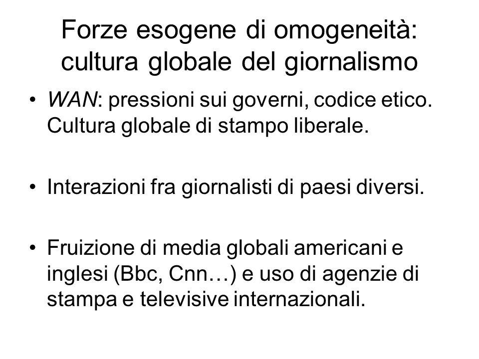 Forze esogene di omogeneità: cultura globale del giornalismo