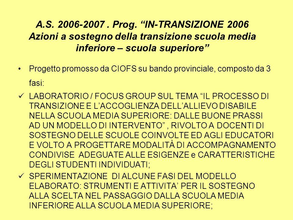 A.S. 2006-2007 . Prog. IN-TRANSIZIONE 2006 Azioni a sostegno della transizione scuola media inferiore – scuola superiore
