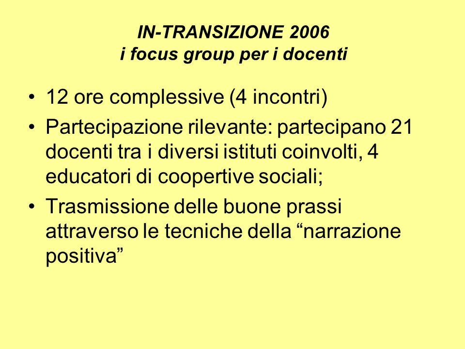 IN-TRANSIZIONE 2006 i focus group per i docenti