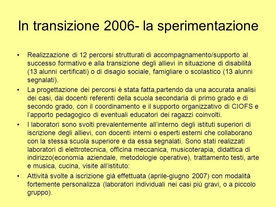 In transizione 2006- la sperimentazione